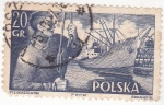 Stamps Poland -  barco y marino