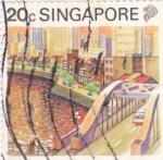 Sellos del Mundo : Asia : Singapur : ilustración panorámica