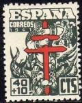 Sellos de Europa - España -  ESPAÑA 1942 950 Sello Nuevo Pro Tuberculosos Cruz de Lorena en rojo
