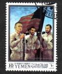 Stamps Yemen -  Proyectos de investigación Apolo 10 y lunares