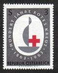 Stamps Austria -  Insignia del Jubileo de la Cruz Roja y la inscripción