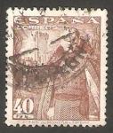 Stamps Spain -  1027 - General Franco y Castillo de la Mota