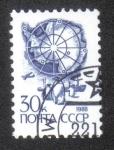 Stamps Russia -  Mapa de la Antártida y los pingüinos emperador