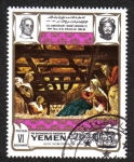 Stamps Yemen -  The crib, by Tintoretto