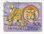 Sellos de Asia - Mongolia -  familia de tigres