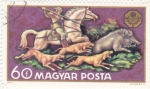Stamps Hungary -  cacerïa del jabalí