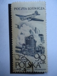 Stamps of the world : Poland :  Lotnicza-Linea Aérea Polaca-SP LAG-Vuelo sobre una Acería en Huta.