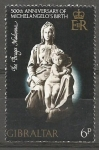 Sellos de Europa - Gibraltar -  ESCULTURA  DE  MIGUEL  ANGEL.  THE  BRUGES  MADONA.