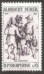 Sellos del Mundo : Europa : Albania :  1299 - 500 Anivº del nacimiento de Albrecht Durer, Tres campesinos