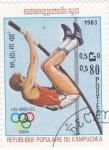 Sellos de Asia - Camboya -  Olimpiada de Los Angeles- salto de pértiga