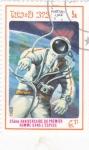 Sellos de Asia - Laos -  aeronautica- 25 aniversario del hombre en el espacio