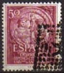Stamps Spain -  ESPAÑA 1953 1126 Sello º VII Centenario Universidad de Salamanca Los Reyes Católicos Fachada