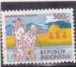 Stamps : Asia : Indonesia :  autosuficiencia alimentaria