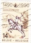 Sellos de Europa - Bélgica -  servicio postal a caballo