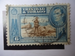 Stamps America - Trinidad y Tobago -  Discovery of Lake Asphalt by Walter Raleigh, 1595 - Rey George VI