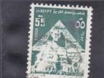 Sellos de Africa - Egipto -  pirámide y efigie