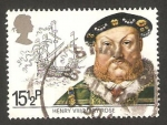 Sellos del Mundo : Europa : Reino_Unido :  1047 - Henry VIII, y barco Mary Rose
