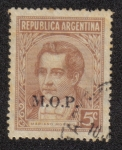 "Sellos de America - Argentina -  Mariano Moreno (1778-1811), ovpt. ""M.O.P."""