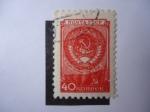 Stamps Russia -  Escudo de Armas y Bandera del Estado de la URSS. Dia de la Constitución de la URSSR