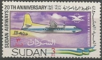 Sellos de Africa - Sudán -  20th  ANIVERSARIO  DE  LA  LÌNEA  AÈREA  DE  SUDAN.  FOKKER  FRIENDSHIP.