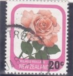 Stamps New Zealand -  flores-rosa blanca