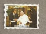 Sellos del Mundo : America : Honduras : Visita del Presidente al Papa Juan Pablo II