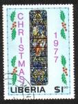 Sellos de Africa - Liberia -  Navidad: ventana de la iglesia