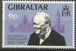 Sellos de Europa - Gibraltar -  CENTENARIO  DE  SIR  WINSTON  CHURCHIL.  CHURCHIL,  PARLAMENTO  Y  EL  BIG  BEN.