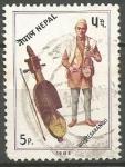 Sellos de Asia - Nepal -  INSTRUMENTOS  MUSICALES.  SHARANGI.