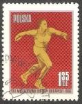 Stamps : Europe : Poland :  Campeonato Europeo de atletismo, lanzamiento de disco