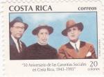 Stamps Costa Rica -  50 aniver.de las Garantias Sociales