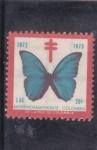 sello : America : Colombia : mariposa