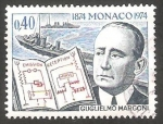 Stamps : Europe : Monaco :  960 - Centº del nacimiento de Guglielmo Marconi