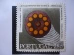 Sellos de Europa - Portugal -  1º Centenario Do Lançamento Do Cabo Submarino Portugal - Inglaterra - Seccion Transversal del Cable