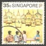 Sellos de Asia - Singapur -  582 - Concurso de pájaros cantores