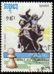 Sellos de Asia - Camboya -  CAMBOYA 1990 Michel 1173 Sello Ajedrez Peón y Estatua Opera La Danza Paris 90 usado