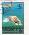 Sellos de Asia - Mongolia -  Montreal-natación
