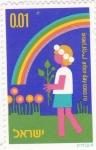 Sellos del Mundo : Asia : Israel : ilustración de un niño y arco iris