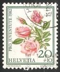 Sellos de Europa - Suiza -  Rosas