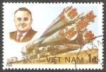 Stamps : Asia : Vietnam :  25 Anivº del primer hombre en el Espacio