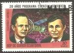 Stamps : Africa : Equatorial_Guinea :  20 Años programa espacial soviético, Gorbatco y Glazcov