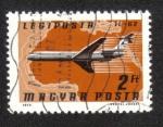 Stamps Hungary -  Airpost . Aviones, Aerolíneas y Mapas