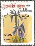 Sellos de Asia - Camboya -  Iris delavayi