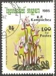 Stamps Cambodia -  Cyclamen persicum