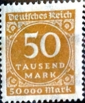 Sellos de Europa - Alemania -  Intercambio ma2s 0,20 usd 50000 mark 1923