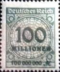 Sellos de Europa - Alemania -  Intercambio 0.20 usd 100000000 m. 1923