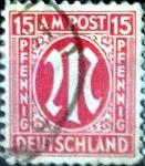 sello : Europa : Alemania : Intercambio mas 1,50 usd 15 pf. 1945