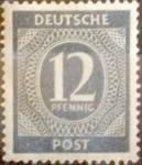 Sellos de Europa - Alemania -  Intercambio 0,20 usd 12 pf. 1946