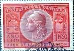 Stamps : America : Argentina :  Intercambio nfb 0,20 usd 1 peso 1949