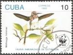 Stamps : America : Cuba :  Fauna amenazada de extincion-mellisuga helenae